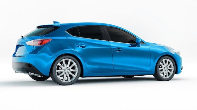창의적인 디자인 d 렌더링을 위한 빈 표면이 있는 파란색 도시 자동차