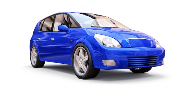 Blue city car with blank surface for your creative design. 3d illustration.