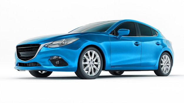 Blue city car with blank surface for your creative design. 3d rendering.