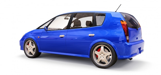 Blue city car with blank surface for your creative design