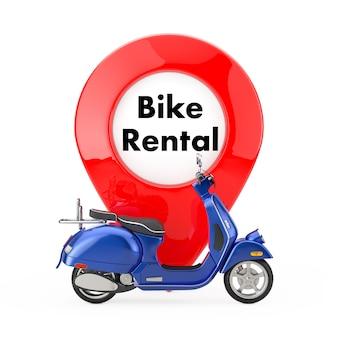 흰색 바탕에 자전거 대여 표지판이 있는 지도 포인터 핀 앞의 파란색 클래식 빈티지 복고 또는 전기 스쿠터. 3d 렌더링