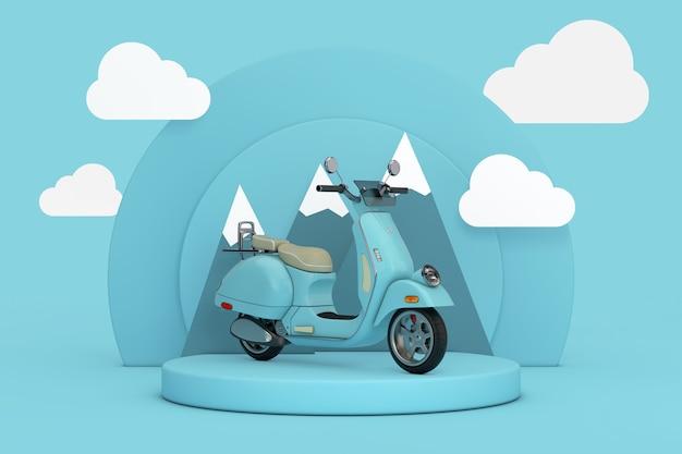Синий классический старинный ретро или электрический мотоцикл самоката над синими цилиндрами продукты этап постамент с облаками и горами на синем фоне. 3d рендеринг