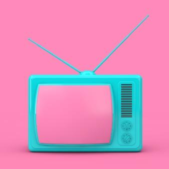 Синий классический винтажный телевизор в двухцветном стиле на розовом фоне. 3d рендеринг