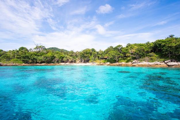 Blue and clear seawater in ocean sea