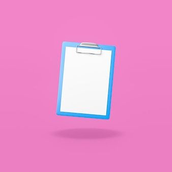 Blue clipboard with blank paper on purple background