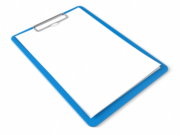 Blue clipboard with blank sheets of paper