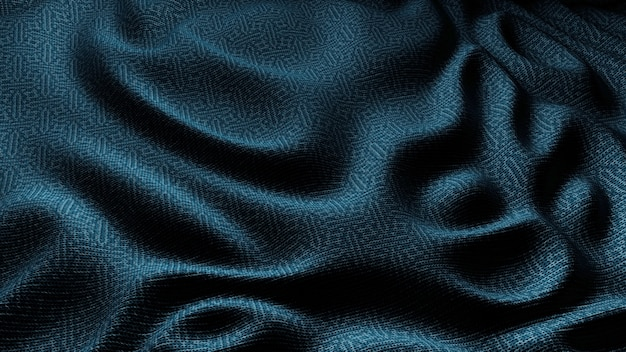 Blue cloth fabric waves background texture.