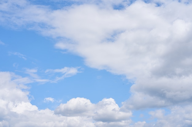Blue cloud sky puffy fluffy white clouds sky weather nature background