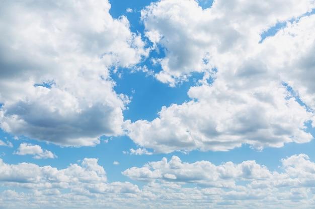 Blue cloudy sky on a clear sunny day
