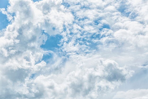 Blue cloudy sky on a sunny day. space for text. background.