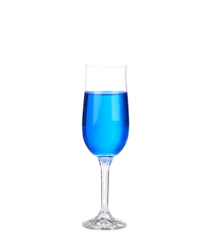 Blue cocktail drink on a white wall