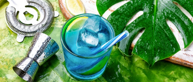 Blue cocktail with ice.alcohol drink