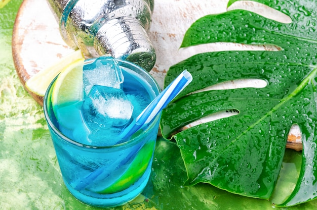 Blue cocktail with ice