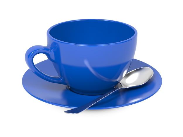 白い背景で隔離のスプーンとソーサーと青いコーヒーカップ。