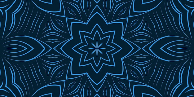 Blue color abstract curly line flowers background. bright color pattern wallpaper delicate curved shapes kaleidoscope