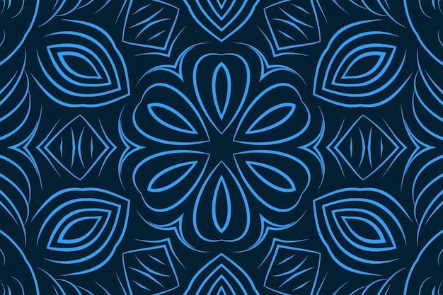 青い色の抽象的な巻き毛のラインの花の背景。明るい色のパターンの壁紙繊細な湾曲した形状万華鏡