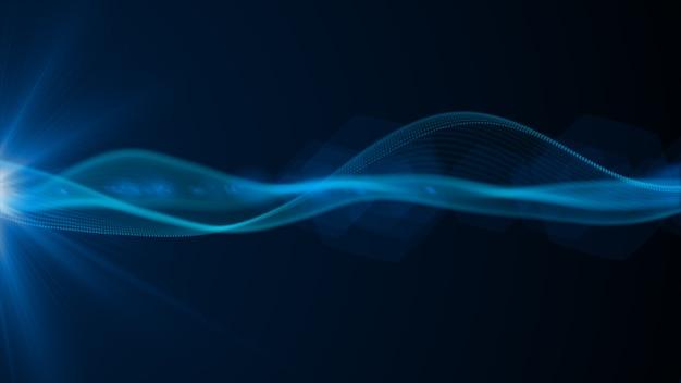 Синий цвет цифровых частиц волнового потока и световых технологий киберпространства абстрактный фон