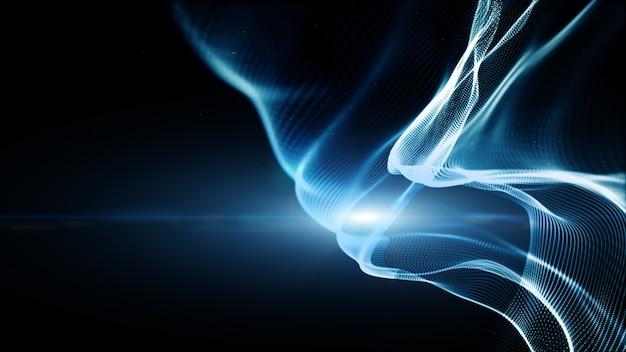 Синий цвет цифровых частиц волнового потока и освещения
