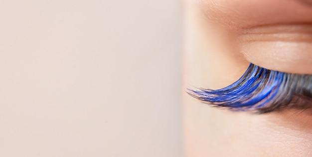 Blue color eyelash extensions.