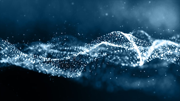 Blue color particles wave abstract background