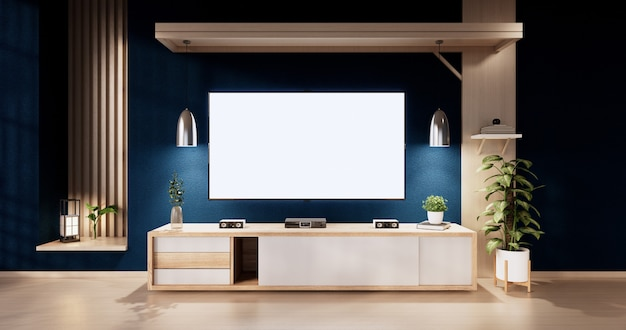 다다미 바닥 방 일본 스타일에 문 종이와 캐비닛 선반 벽이 있는 파란색 방 디자인 인테리어. 3d 렌더링