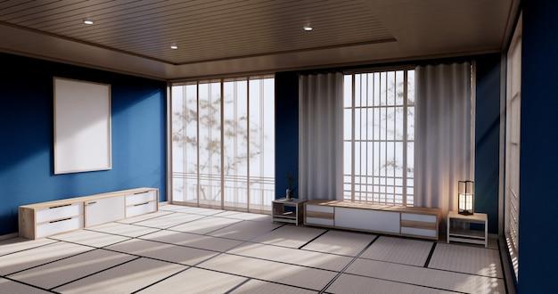たたみマットフロアルーム和風のドアペーパーとキャビネット棚壁を備えたブルーカラーの部屋デザインインテリア。 3dレンダリング