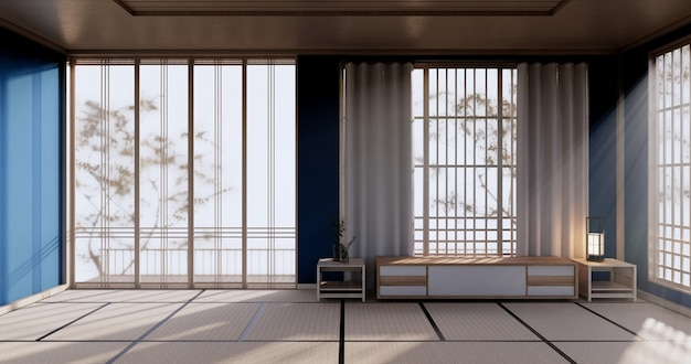 Blue color room design interior with door paper and cabinet shelf wall on tatami mat floor room japanese style. 3d rendering