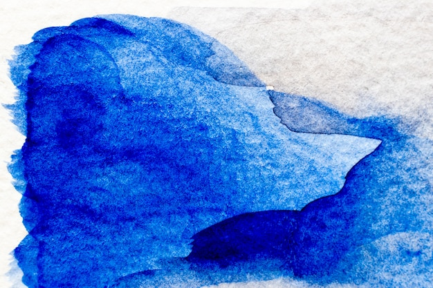 Blue color watercolor handdrawing as brush or banner on white paper background