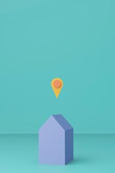 Синий цвет 3d визуализации дом с знаком местоположения. географическое положение и концепция работы из дома.