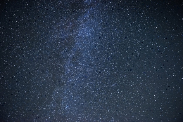 Blue colored. milky way galaxy with stars and space dust in the universe.