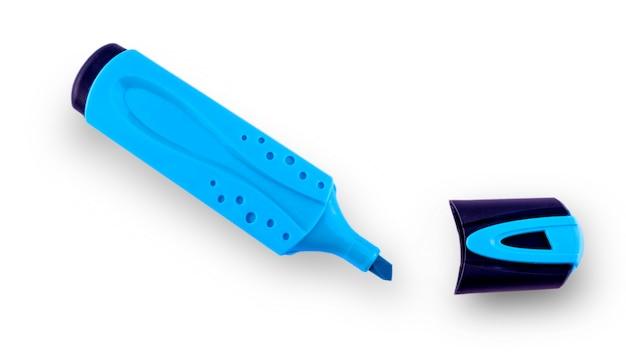 青色の開いた蛍光ペンizolated分離