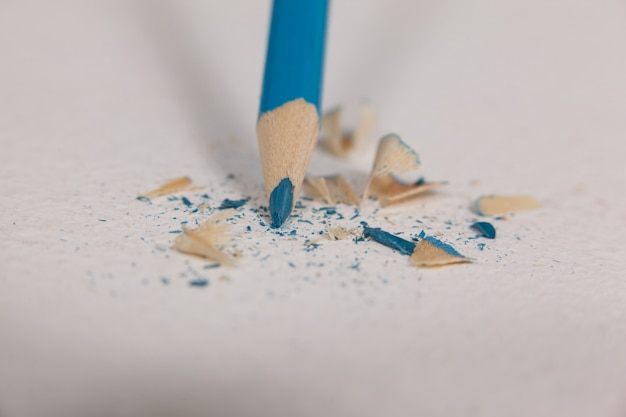Blue colored pencil with broken tip