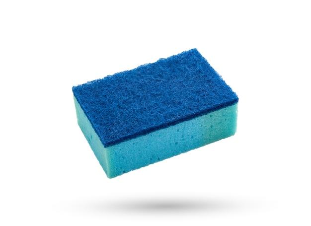 Blue colour wash dish sponge on white isolated