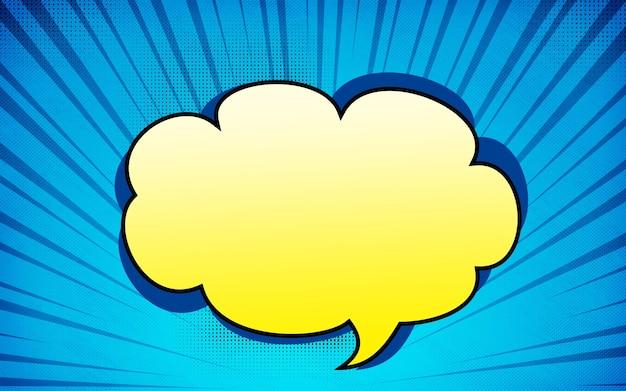 노란색 연설 거품 화려한 배경으로 바닥에서 파란색 만화 줌 광선