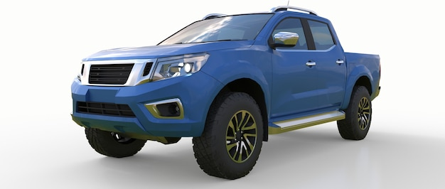 더블 캡이 있는 파란색 상업용 차량 배달 트럭. 로고와 라벨을 수용할 수 있는 깨끗한 빈 몸체로 휘장이 없는 기계. 3d 렌더링.