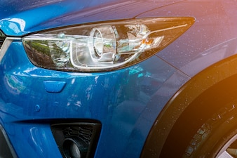 Blue compact SUV car with sport and modern design