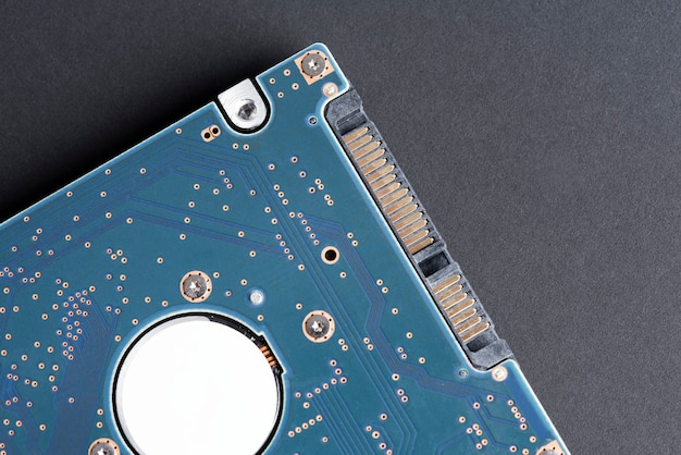 Blue computer cpu motherboard flat lay