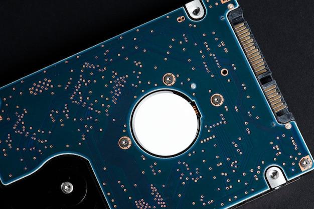 青いコンピューターcpuマザーボードフラットレイ