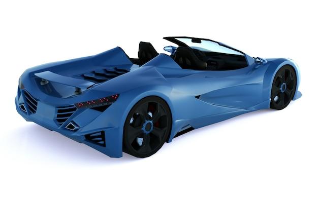 도시 주변을 운전하고 흰색 표면에 경주 트랙을위한 파란색 개념 스포츠 쿠페 형 자동차