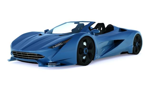 Синий концептуальный спортивный кабриолет для езды по городу и гоночной трассе по белой поверхности