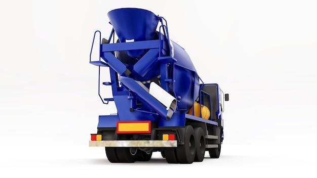 Blue concrete mixer truck white background. three-dimensional illustration of construction equipment. 3d rendering. Premium Photo