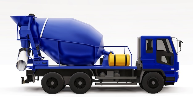 Blue concrete mixer truck white background. three-dimensional illustration of construction equipment. 3d rendering.