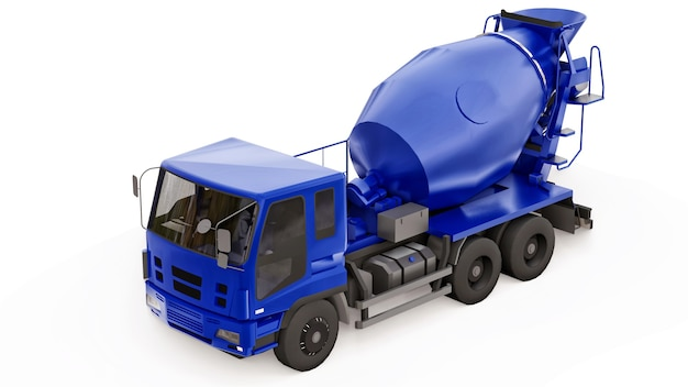 파란색 콘크리트 믹서 트럭 흰색 배경입니다. 건설 장비의 3차원 그림입니다. 3d 렌더링.