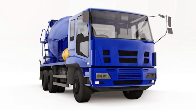 파란색 콘크리트 믹서 트럭 흰색 배경 건설 장비의 입체 그림