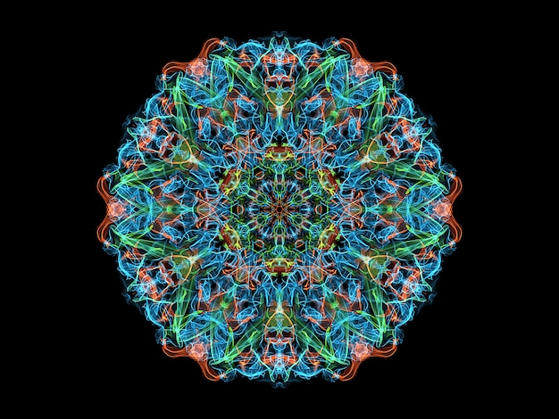 Blue, coral and green abstract flame mandala flower, neon ornamental floral round pattern