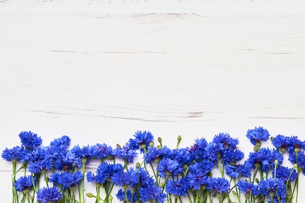 Blue cornflower border on white wooden background. top view, copy space.