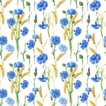 Голубые васильки, пшеница. акварельный цветочный фон. акварельные иллюстрации с цветком