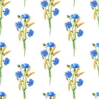 Blue cornflowers, wheat.watercolor floral seamless pattern. watercolour illustration with flower