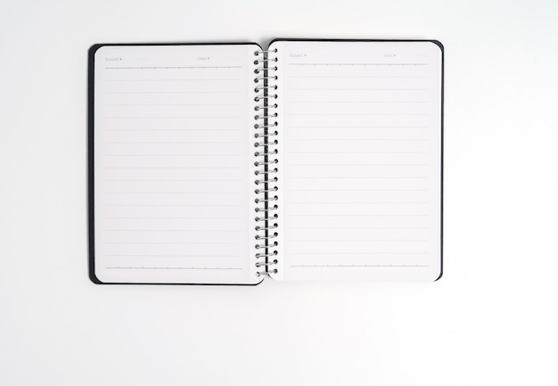 Blue cover of the daily planner on white background