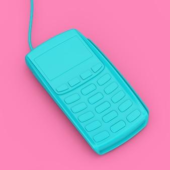 분홍색 배경에 이중톤 스타일의 파란색 신용 카드 결제 터미널. 3d 렌더링